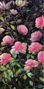 """Etape 5, Fleurs"""", technique mixte sur toile, 50X100"""