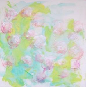 en cours, les roses 2, crayons aquarellables sur toile préparée, 50X50