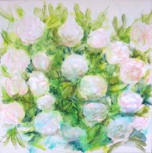 en cours, les roses 3, crayons aquarellables sur toile préparée, 50X50