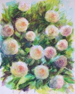 en cours, les roses, crayons aquarellables sur contrecollé préparé 40X50