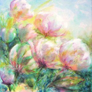 fleurs, technique mixte sur toile, 50X0