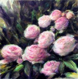 les roses crayons aquarellables et acrylique sur toile 46X46 redim