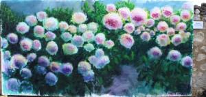Les fleurs, acrylique sur toile, 400X200, Pussifolies 2014