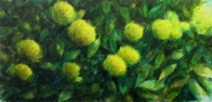 fleurs jaunes, technique mixte sur toile, 47X97