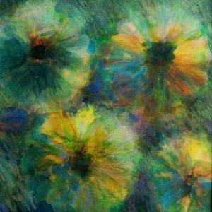 fleurs villodam original derwent neocolor recadrage sur toile 40X40 redim