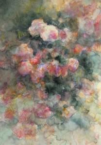les roses anciennes aquarelle sur toille 30X50 redim