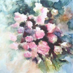 Fleurs aquarelle et crayons sur toile 50X50 redim