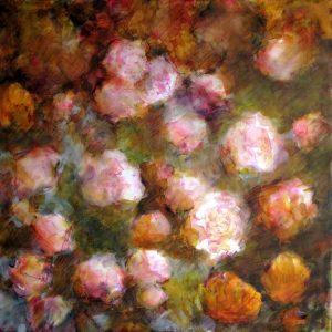 """""""Les fleurs"""", technique mixte sur toile, 50X50"""