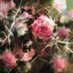 Les roses, huile sur toile, 50X60 Fabienne Monestier