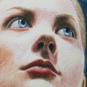 Work in progress with coloured pencils – Pas à pas portrait de femme aux crayons de couleur