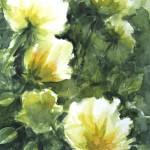 fleurs jaune pale aquarelle 36X51 Fabienne Monestier