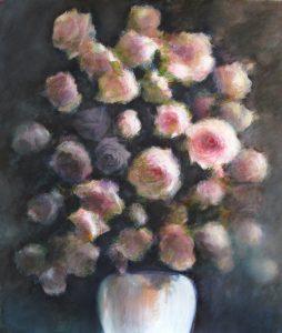 Le bouquet, peinture technique mixte sur papier, 51X61 cm