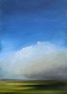 """""""Pluie d'été"""", huile sur toile, 33X24. Disponible sur Artmajeur. Summer rain, landscape, oil on canvas, 33X24 cm, Fabienne Moenstier"""