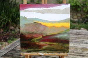 collage et huile sur toile 30X30 cm
