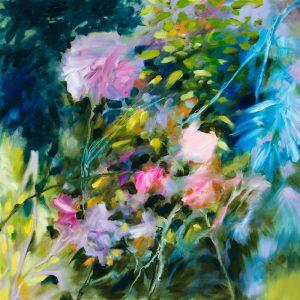 Au jardin, peinture fleur huile sur toile 70X70 cm Fabienne Monestier