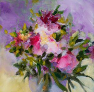 bouquet mauve huile sur toile 50X50 cm Fabienne Monestier redim 800