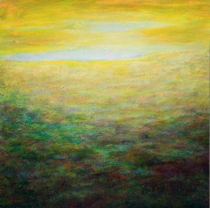 Paysage abstrait jaune, acrylique sur papier, 70X70 cm