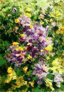 Fleurs mauves au jardin, acrylique sur papier, 42X59.4 cm