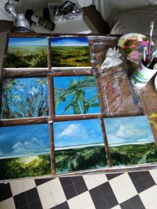 Session de peinture à l'huile : fleurs, libellule et rivages de lacs…