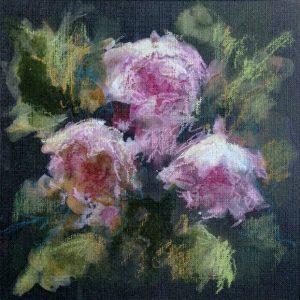 Les roses, technique mixte sur contrecollé noir, 15X15 cm. Vendu.