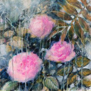 Roses et palmes, mixed media sur toile, 40X40 cm. Vendu.