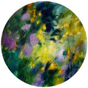 """""""Floral abstrait : memories of secret"""", acrylique sur toile ronde, ø 70cm"""