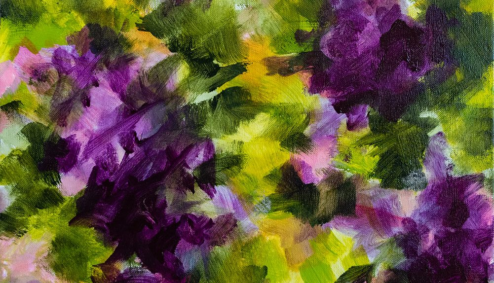 Les fleurs violettes acrylique sur toile 40X40 cm Fabienne Monestier