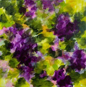 Les fleurs violettes, acrylique sur toile, 40X40 cm
