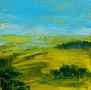Ciel bleu, acrylique sur contrecollé, 10X10 cm