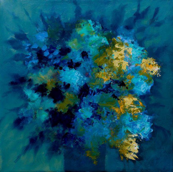 Les lilas bleus, huile sur toile, 50X50cm