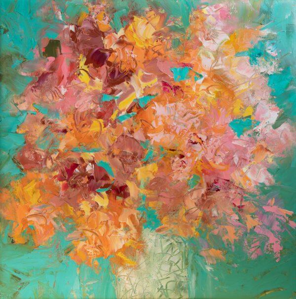 Bouquet huile sur toile 60X60cm