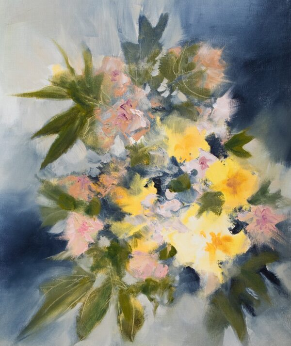 Bouquet jaune oil on canvas 42X35 cm Fabienne Monestier