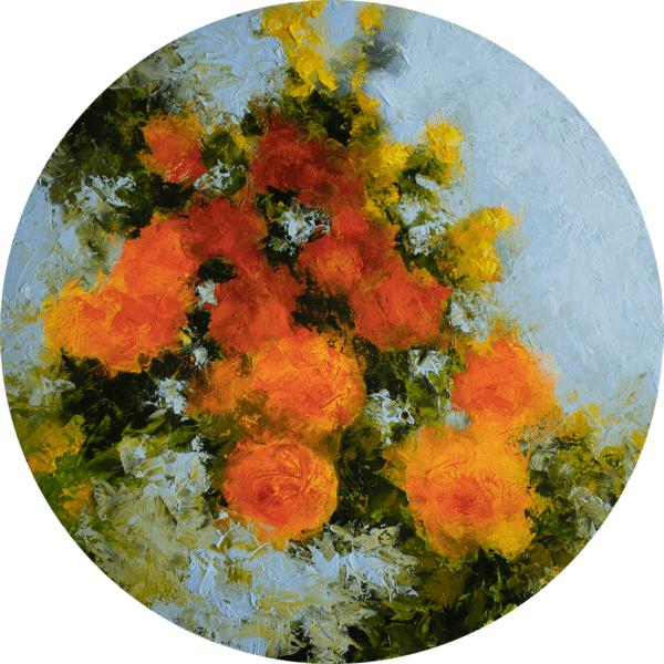 tondo aux roses oranges 50cm Ø