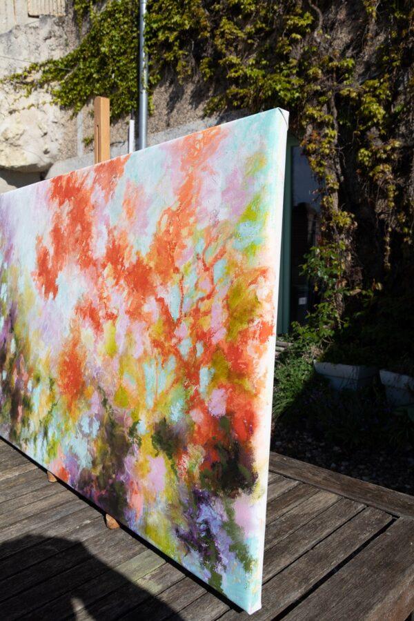 Les mimosas rouges huile sur toile 92X60cm