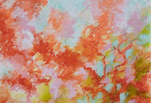detail Les mimosas rouges huile sur toile 92X60cm