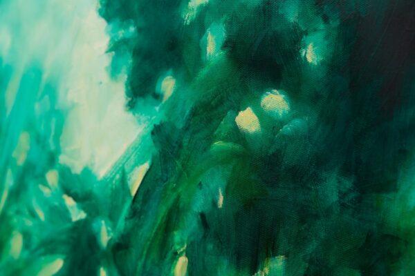 detail Nocturne en vert émeraude, huile sur toile, 50X50 cm
