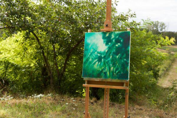 Nocturne en vert émeraude, huile sur toile, 50X50 cm