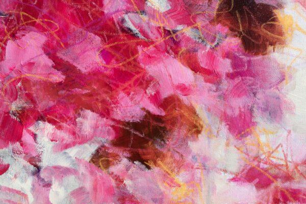 detail Pink floral acrylique sur toile 130X89 cm Fabienne Monestier