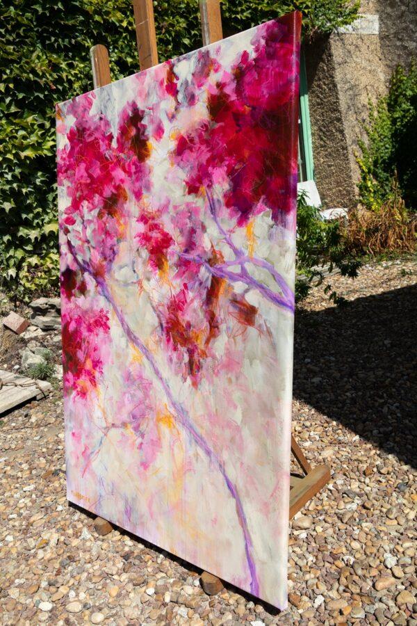 Pink floral acrylique sur toile 130X89 cm Fabienne Monestier