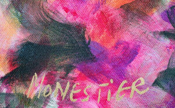 detail Floral psychedelique acrylique toile ronde 80cm diametre