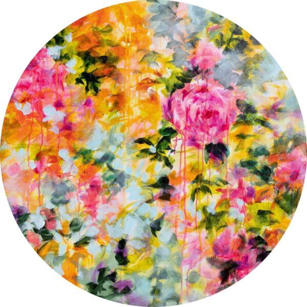 Floral psychedelique acrylique toile ronde 80cm diametre