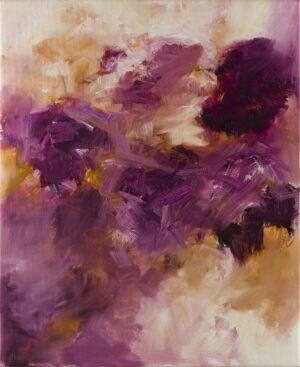 Abstrait grenat et ocre, huile sur toile, 60X73 cm
