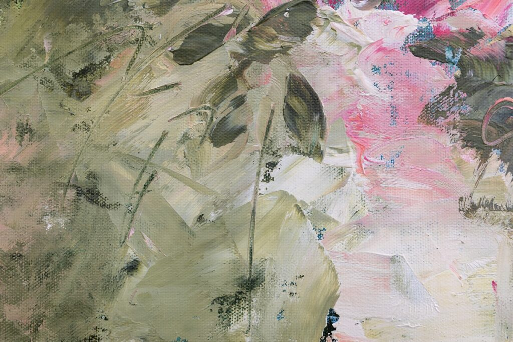 Bouquet aux roses roses, huile sur toile, 50X50 cm