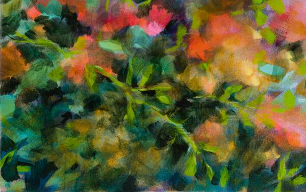 Floraison, acrylique et pastels à la cire sur toile, 90X43 cm
