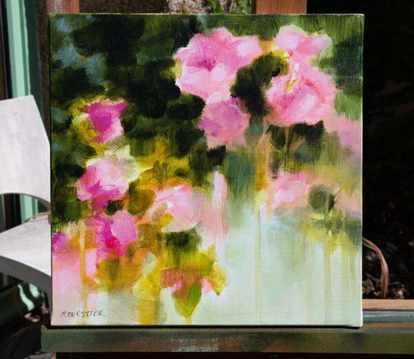 detail Floral au jardin de roses acrylique sur toile 30X30 cm