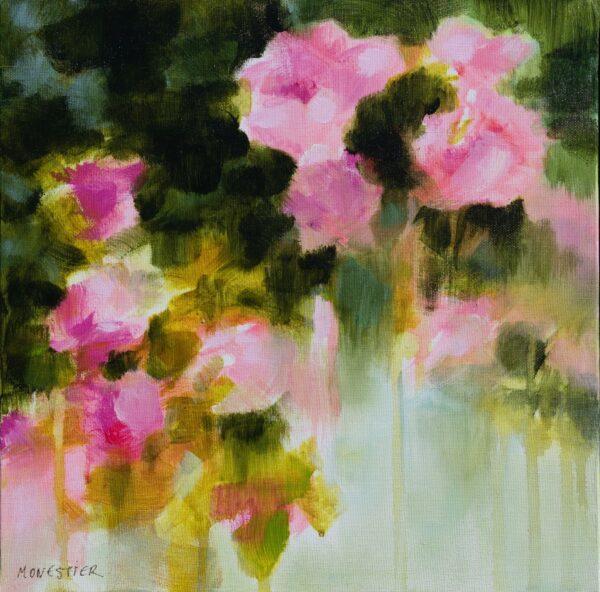 Floral au jardin de roses acrylique sur toile 30X30 cm