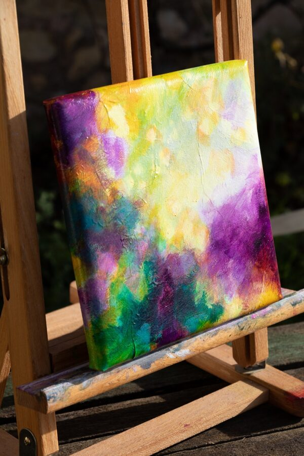 Joyful abstract, acrylique sur toile, 20X20 cm