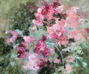 Jardin en rose et vert