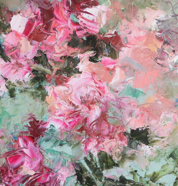 Le jardin en rose et vert, huile sur toile, 50X60 cm