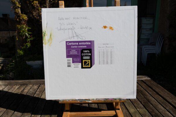 les vignes de bacchus technique mixte sur carton toilé 40X40 cm